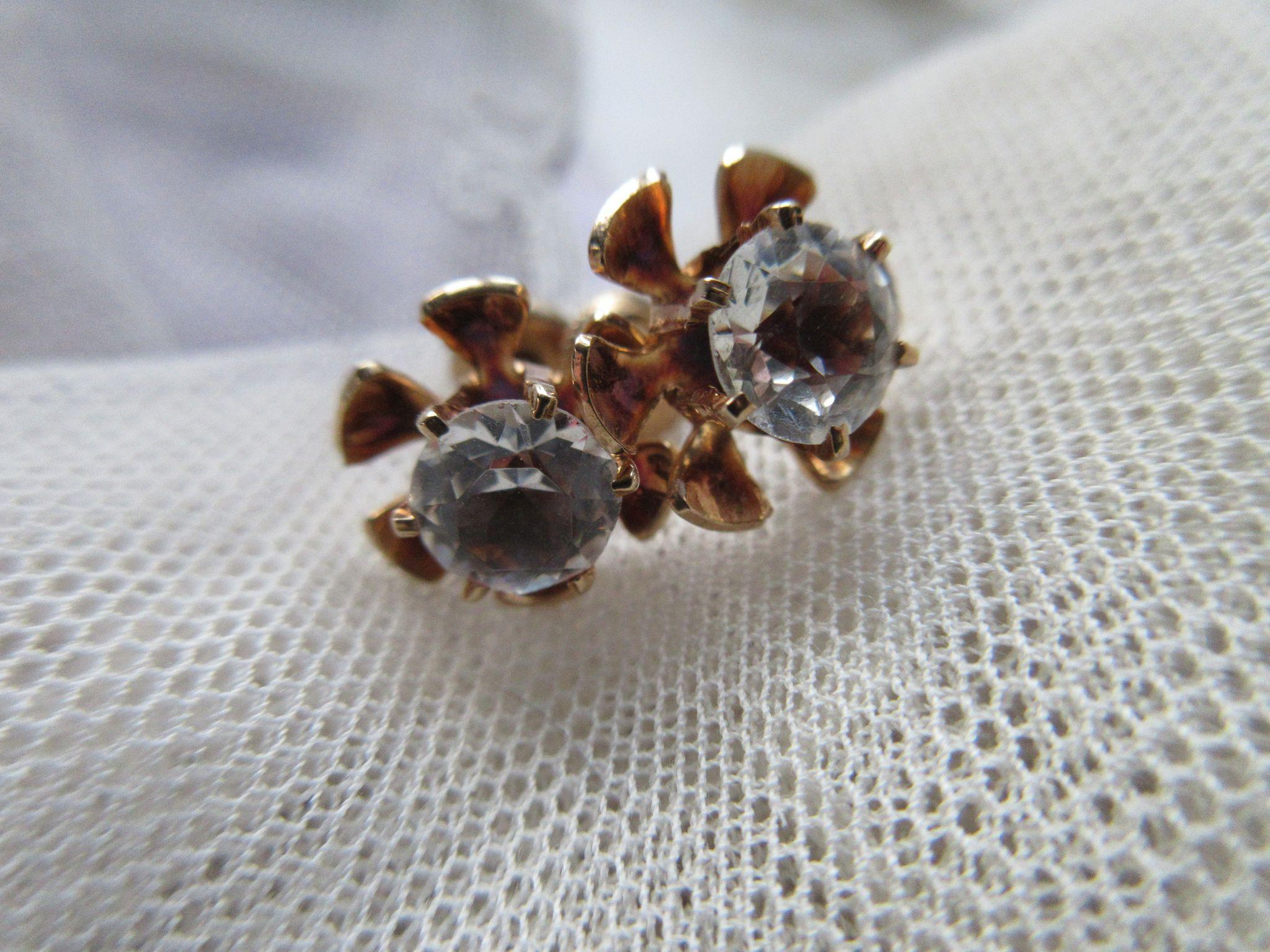 Antique 10K Paste Pierced Earrings, Bridal Jewelry, Heirloom Estate Jewelry