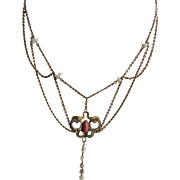 Antique Art Nouveau Paste and River Pearl Festoon Necklace in Gold Fill