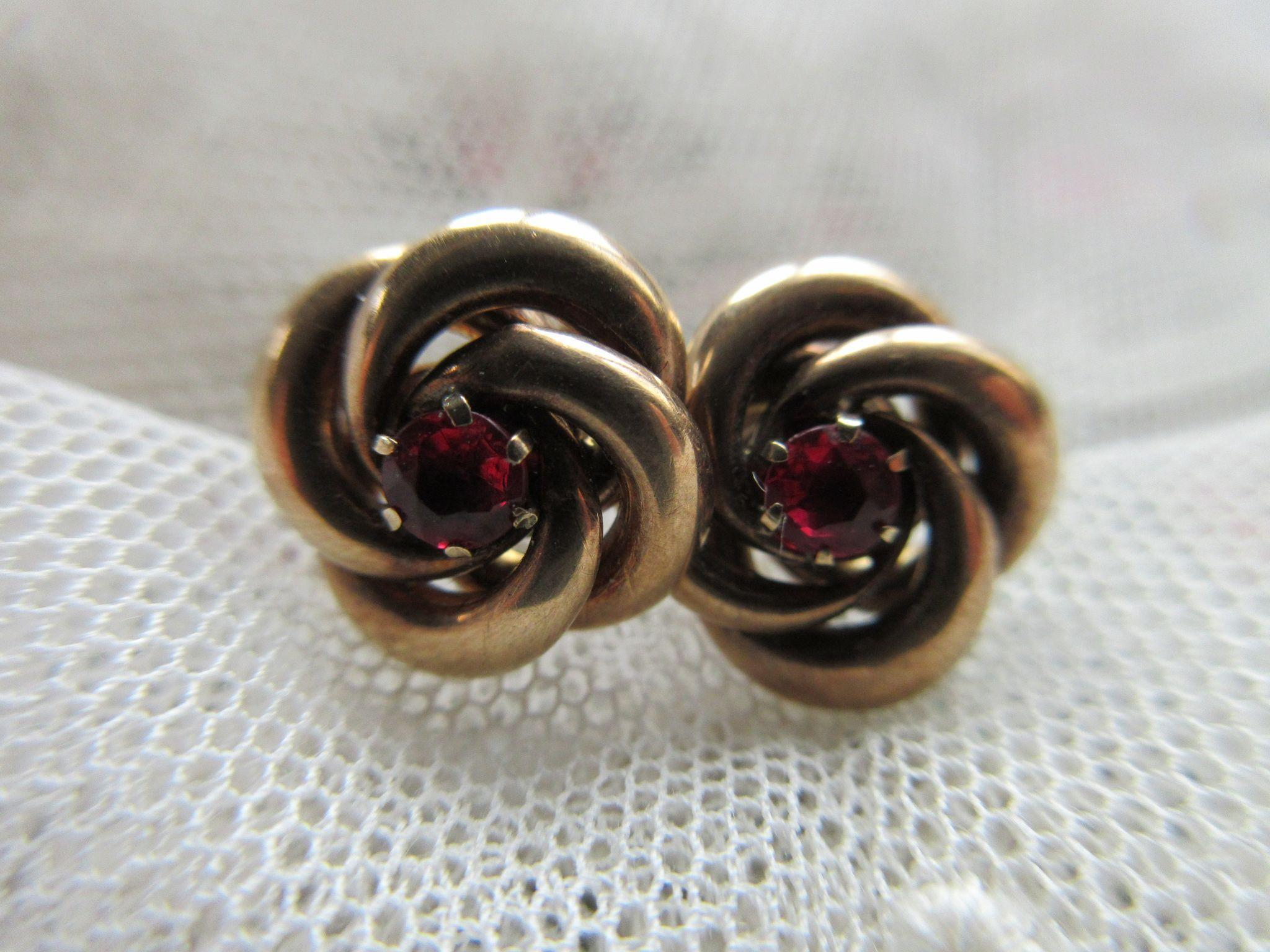 Antique 10K Ruby Doublet Lovers Knot Pierced Earrings