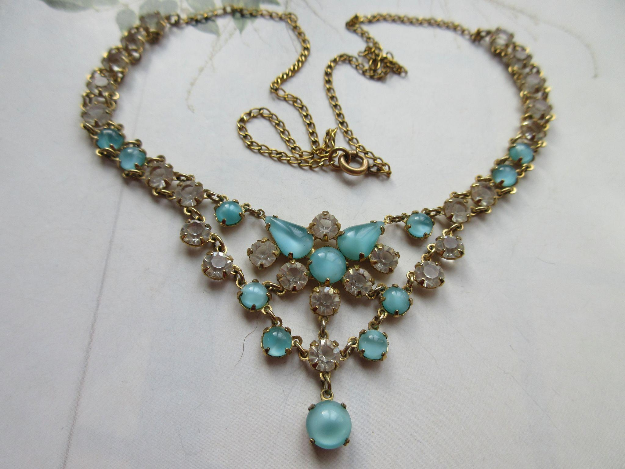 Vintage Open Back Crystal Necklace in Gold Fill