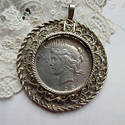 Peace Silver Dollar 1925 Pendant