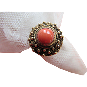 Victorian Antique 10K Coral Ring, Etruscan Revival
