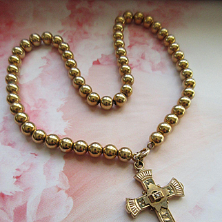 Antique Cross Necklace in Gold Fill