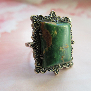 Vintage Deco 1930s Turquoise Marcasite Sterling Ring