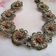Vintage Coral 800 Silver Filigree Bracelet circa 1930