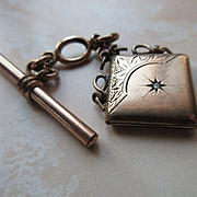 Victorian Watch Chain with Locket Fob, Star Burst Motif