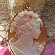 Vintage 14K Cameo Pin Pendant