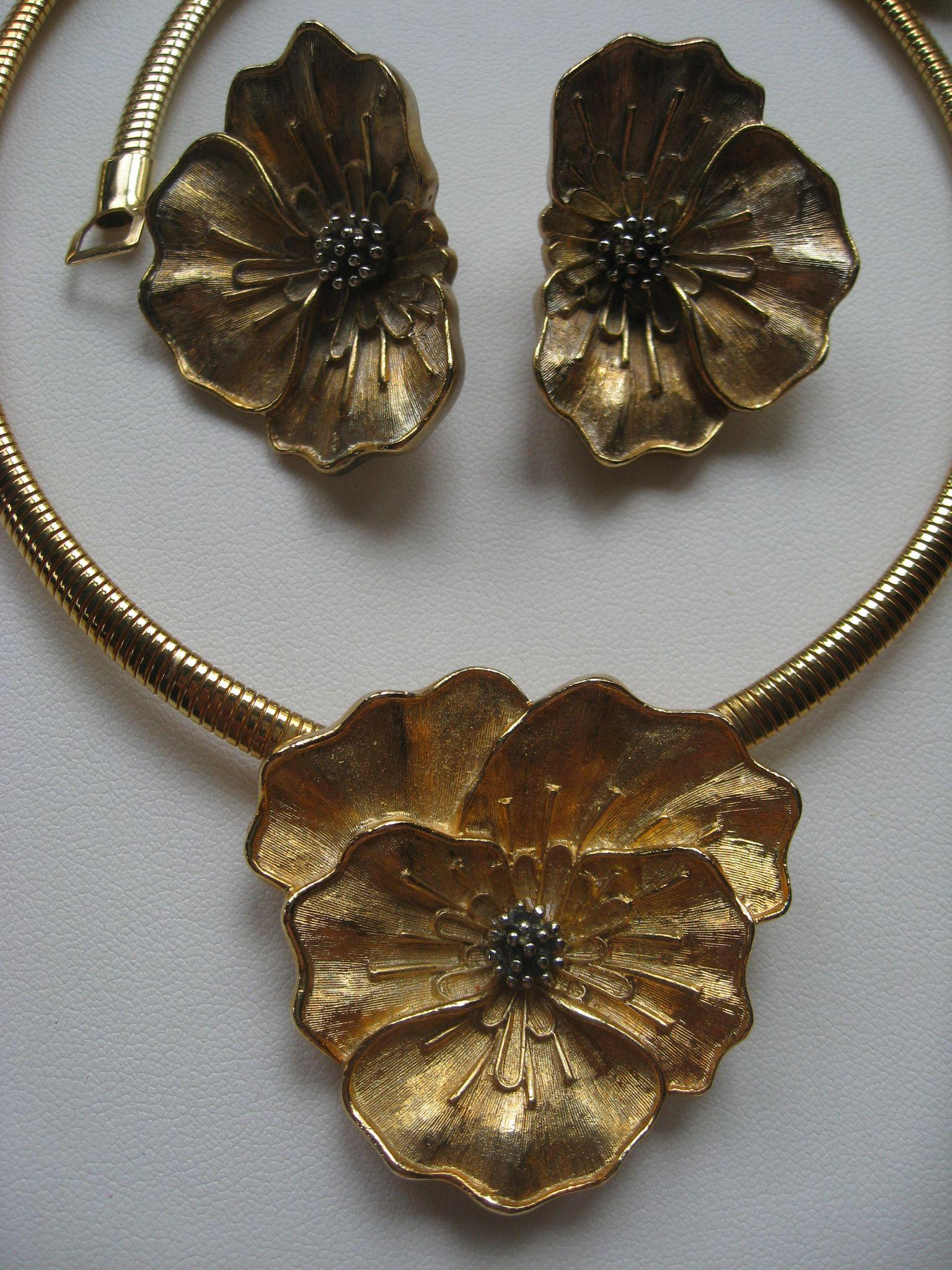Vintage Costume Jewelry Pansy Set