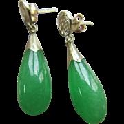 Vintage 14K Yellow Gold Jade Pierced Earrings