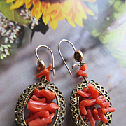 Vintage Coral Branch Pierced Earrings