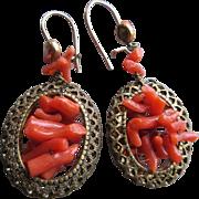 Vintage Coral Branch Pierced Earrings