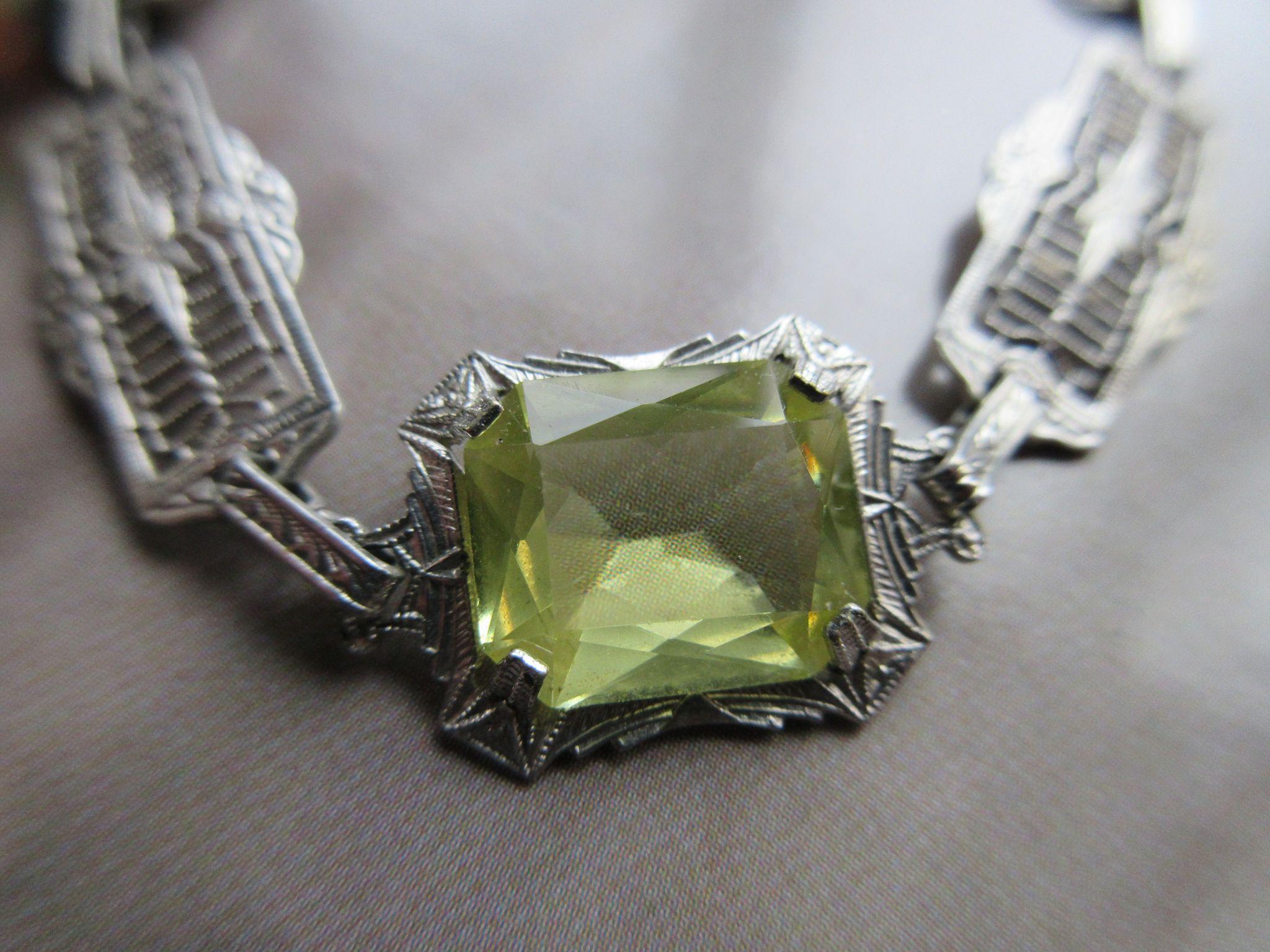 Deco Filigree Crystal Bracelet, Vintage 1930s Bracelet