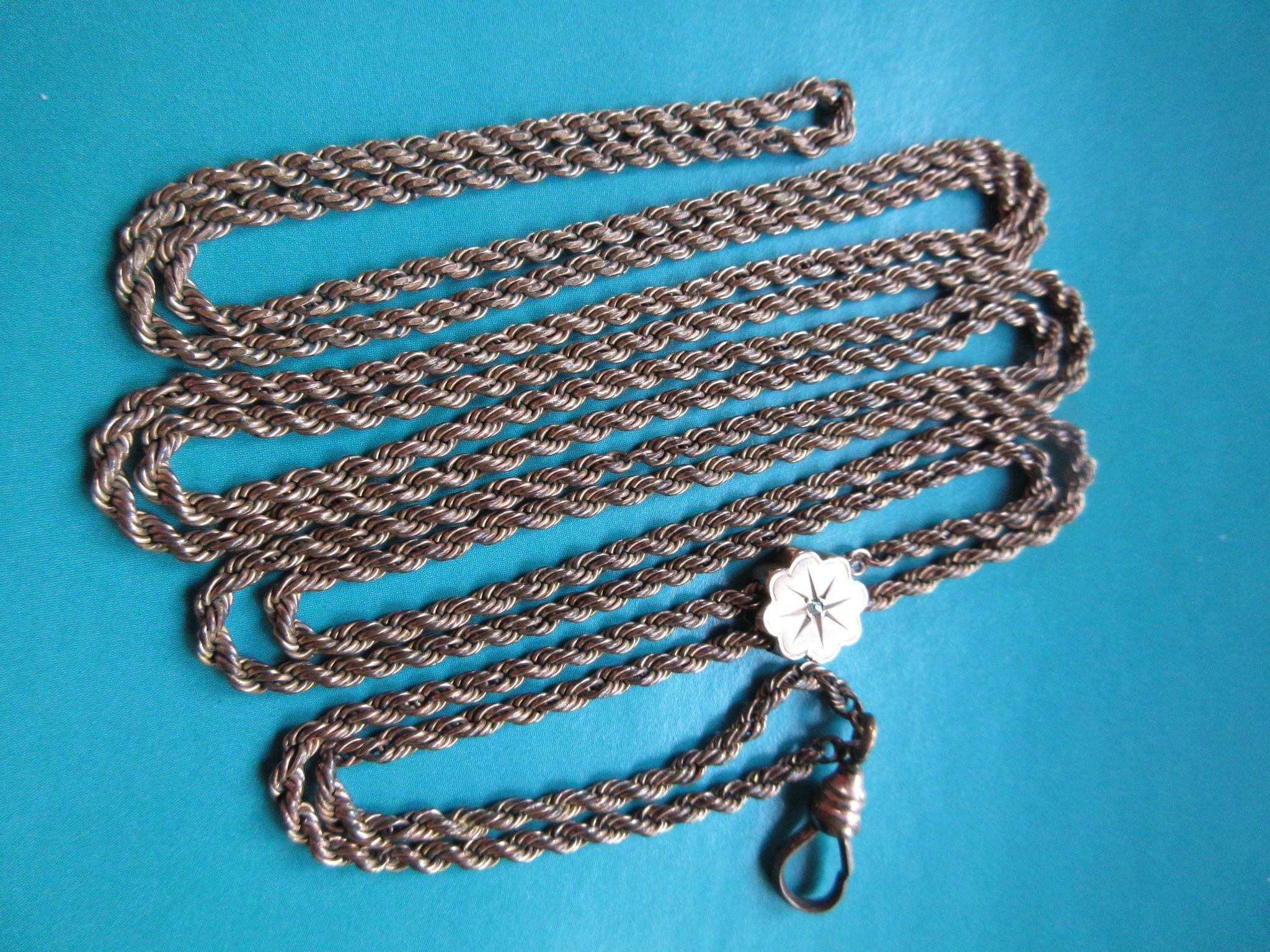 Victorian Ladies Watch Chain, Rose Cut Diamond Slide Chain