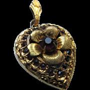 Older Vintage Floral Paste Heart Locket in Gold Fill