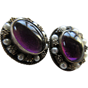 Deco 1920s Amethyst Cultured Pearl Clip On Earrings. 800 Silver