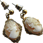 Vintage Carved Shell Cameo Pierced Earrings