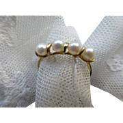 Vintage 14K Cultured Pearl Band, Pearl Ring