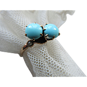 Victorian 10K Persian Turquoise Cultured Pearl Ring