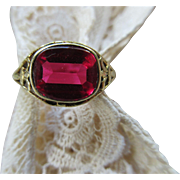 Vintage 1930s Simulated Ruby 14K Ring