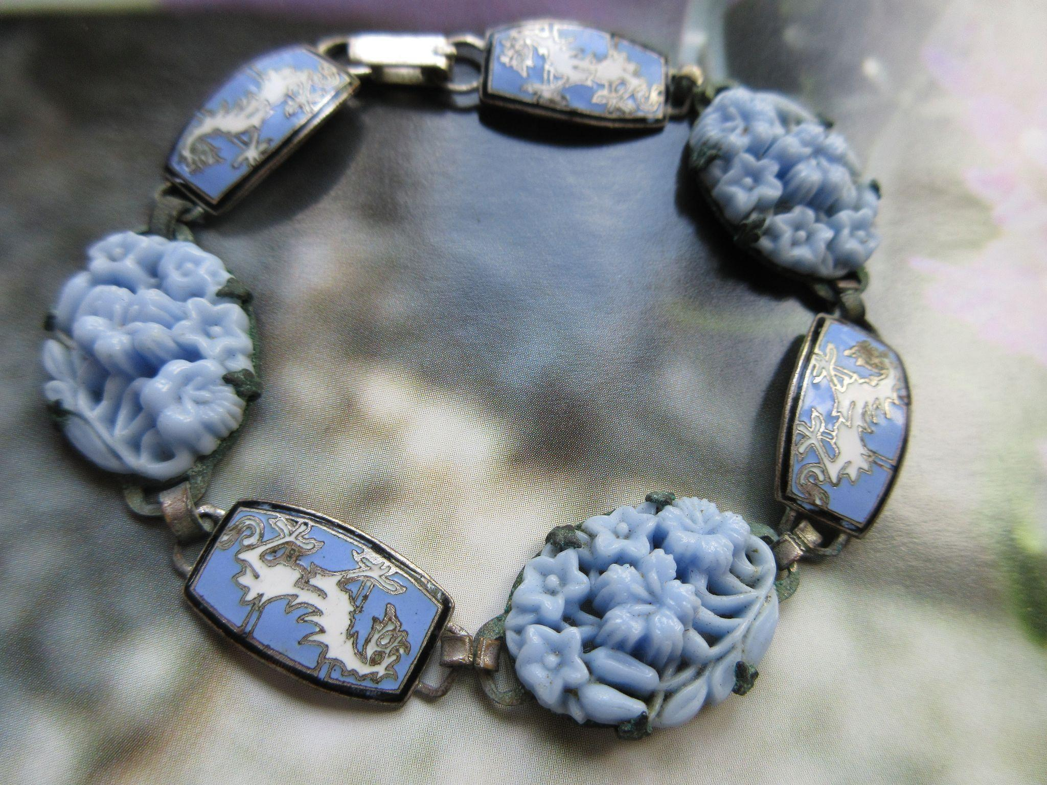 Vintage 1930s Molded Floral Glass Enameled Bracelet