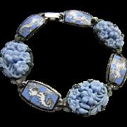 Vintage 1930s Molded Floral Glass Enameled Bracelet