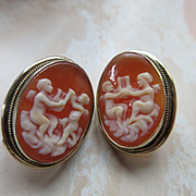 Vintage 1930s Shell Cameo Mythological Earrings, 835 Silver