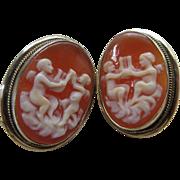 Vintage 1930s Shell Cameo Mythological Earrings, 835 Silver