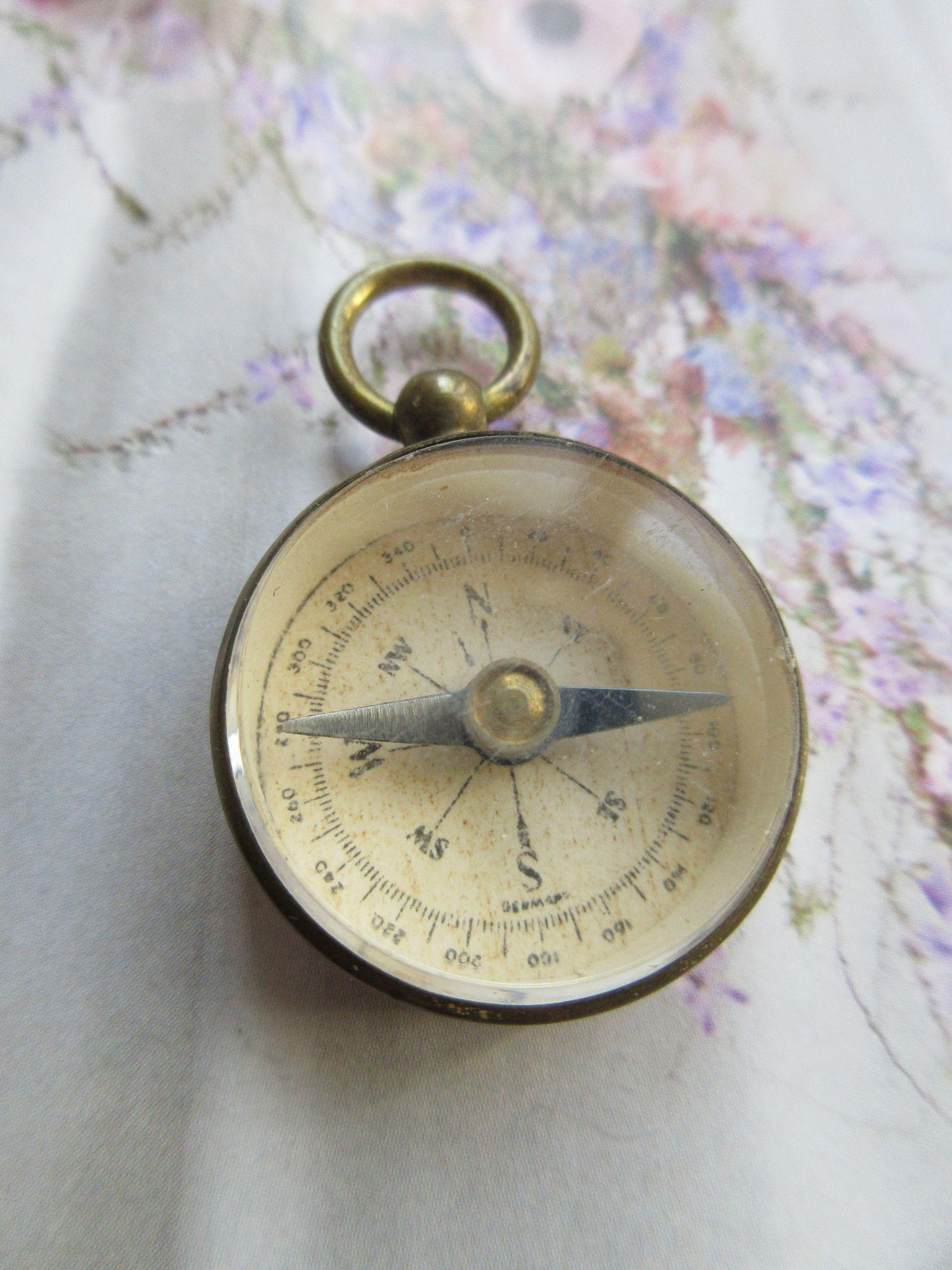 Antique Brass Watch Fob Compass