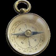Antique Brass Watch Fob Compass