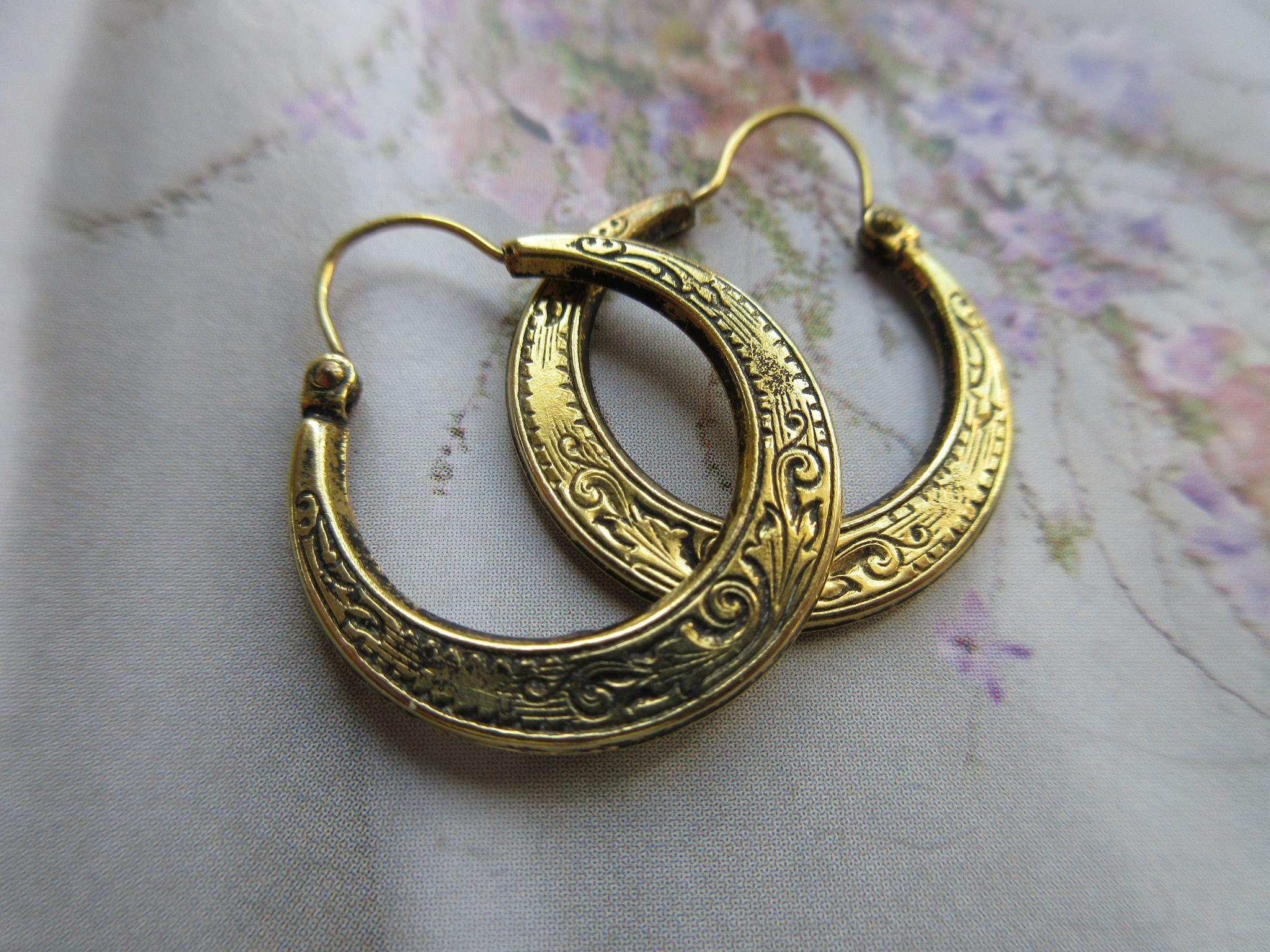 Antique 10K Chased Hoop Earrings