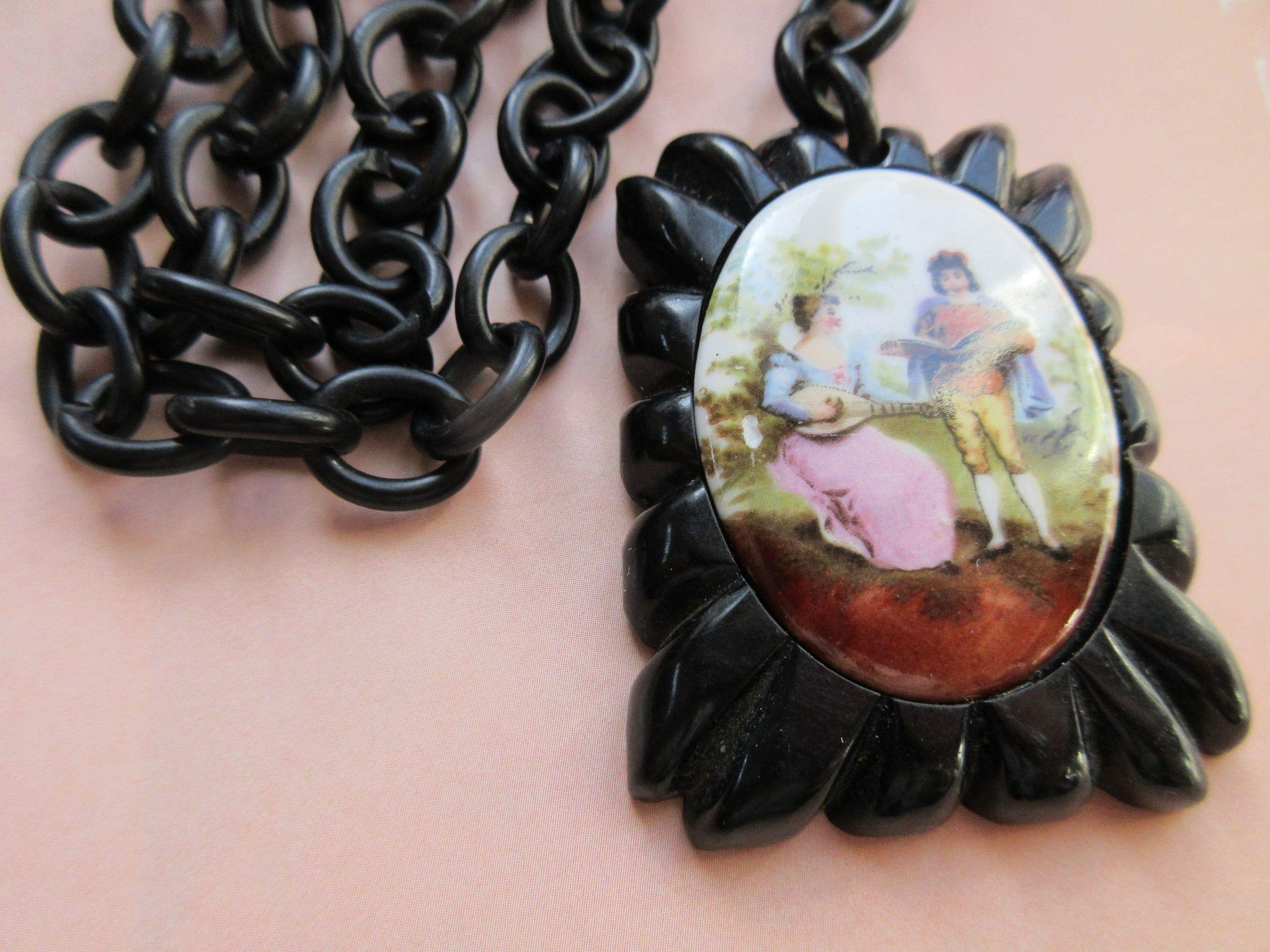 Vintage 1930s Bakelite and Porcelain Pendant on Celluloid Chain