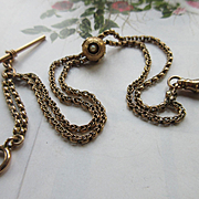 Victorian 14K Seed Pearl Slide Watch Chain