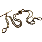 Victorian 14K Seed Pearl Slide Watch Chain