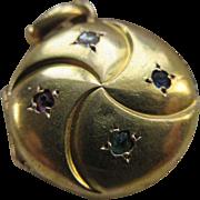 Antique 18K Jeweled Locket Charm   Paste Locket