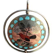 Native American Sterling Spinner Double Sided Inlay Pendant Birds and Flowers