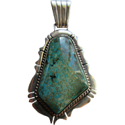 Native American Sterling Turquoise Pendant  Hallmarked  D Sterling