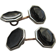 Vintage 1920s Deco Enameled Black Double Button Cufflinks