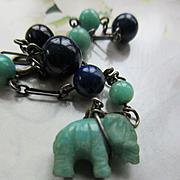 Vintage Deco Natural Stone Elephant Bracelet