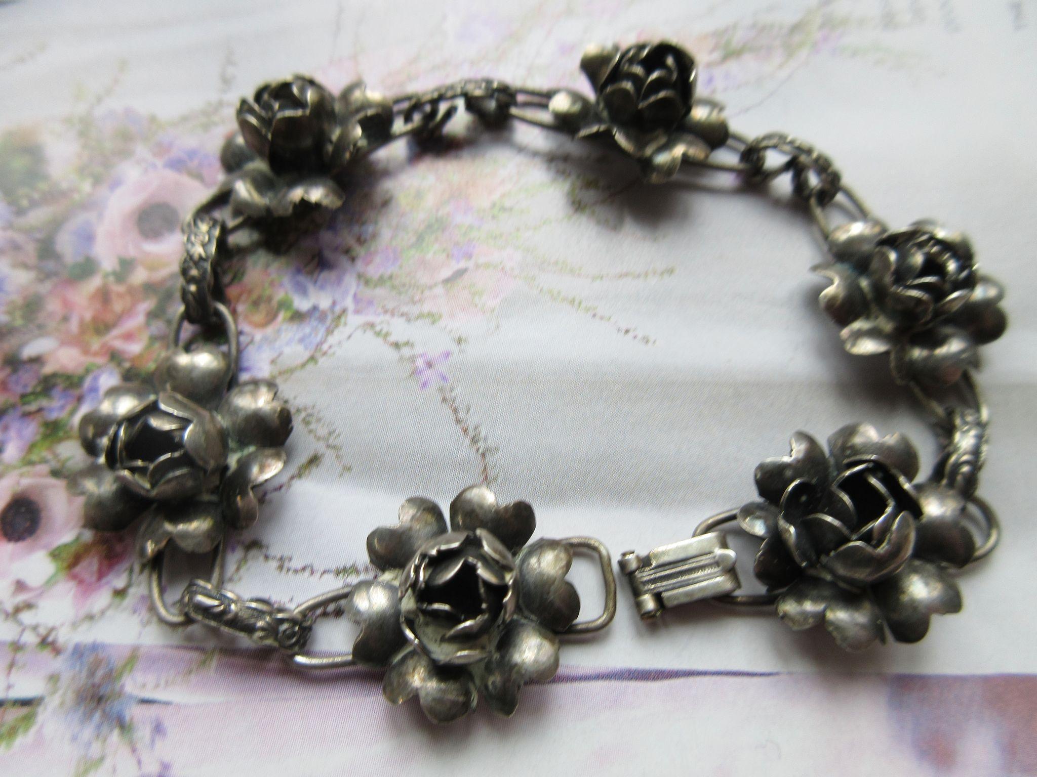 Vintage 1930s Sterling Roses Bracelet