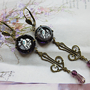 Vintage Pierced Amethyst Glass Drop Earrings