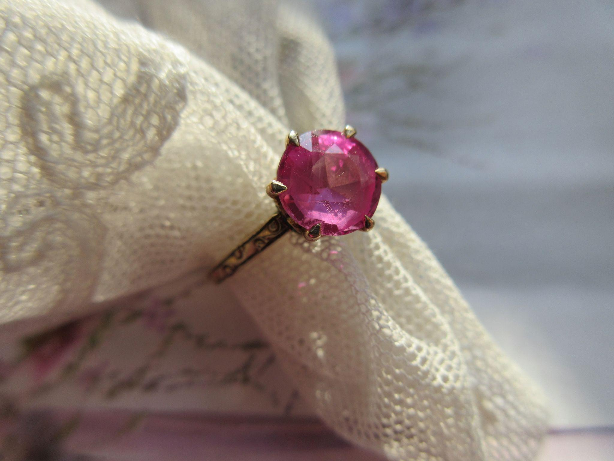 Edwardian Simulated Pink Sapphire Ring 10K Yellow Gold