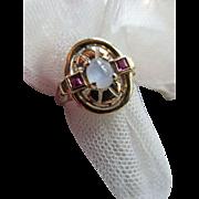 Vintage 1940's Retro Moonstone Ruby Ring 10K