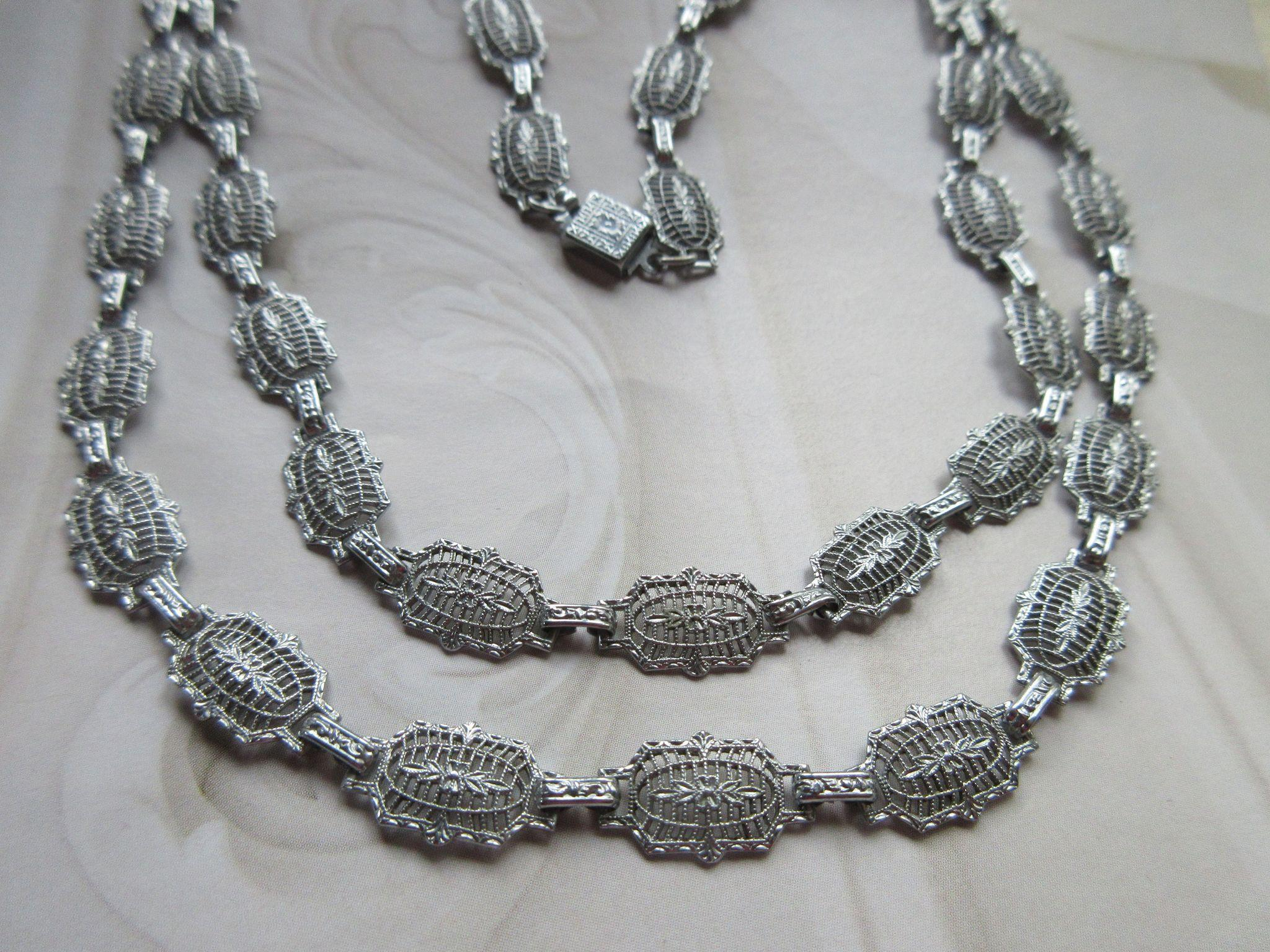 Deco Filigree Chromium Plated Necklace PSCO Hallmark