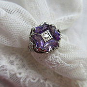 Deco 1930s 14K White GoldFiligree Amethyst Diamond Ring