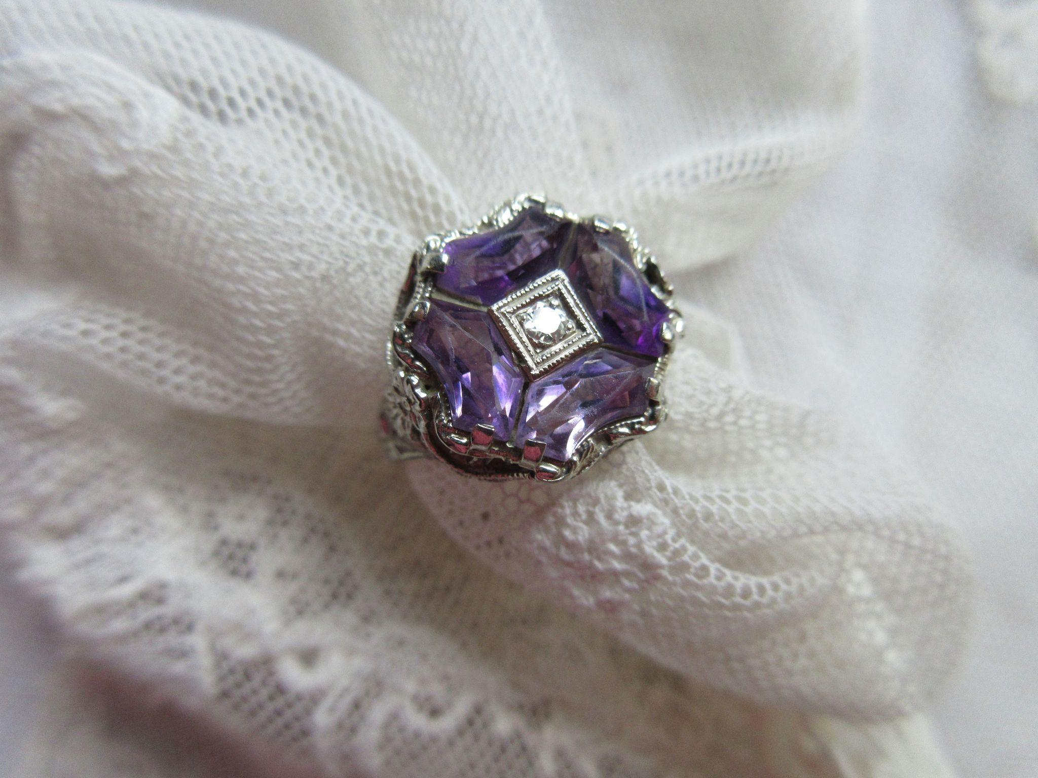 Deco 1930s 14K White GoldFiligree Amethyst Diamond Ring