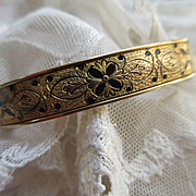 1930s Victorian Revival Bangle Bracelet in Gold Fill With Black Enameling Dunn Brothers