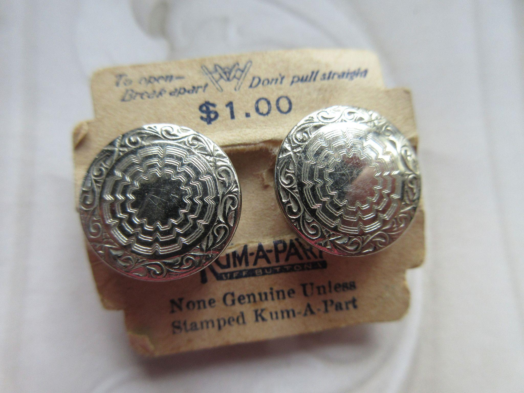 Deco 1923 Kum Apart Cuff Links on Original Paper Tag