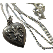 Antique Sterling Fleur Di Lis Heart Charm 1900 Necklace