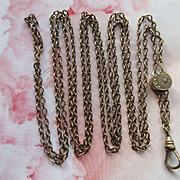 Victorian Ladies Watch Chain, Antique Slide Necklace