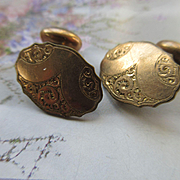 Antique Cufflinks in Gold Fill, Victorian Cuff Buttons